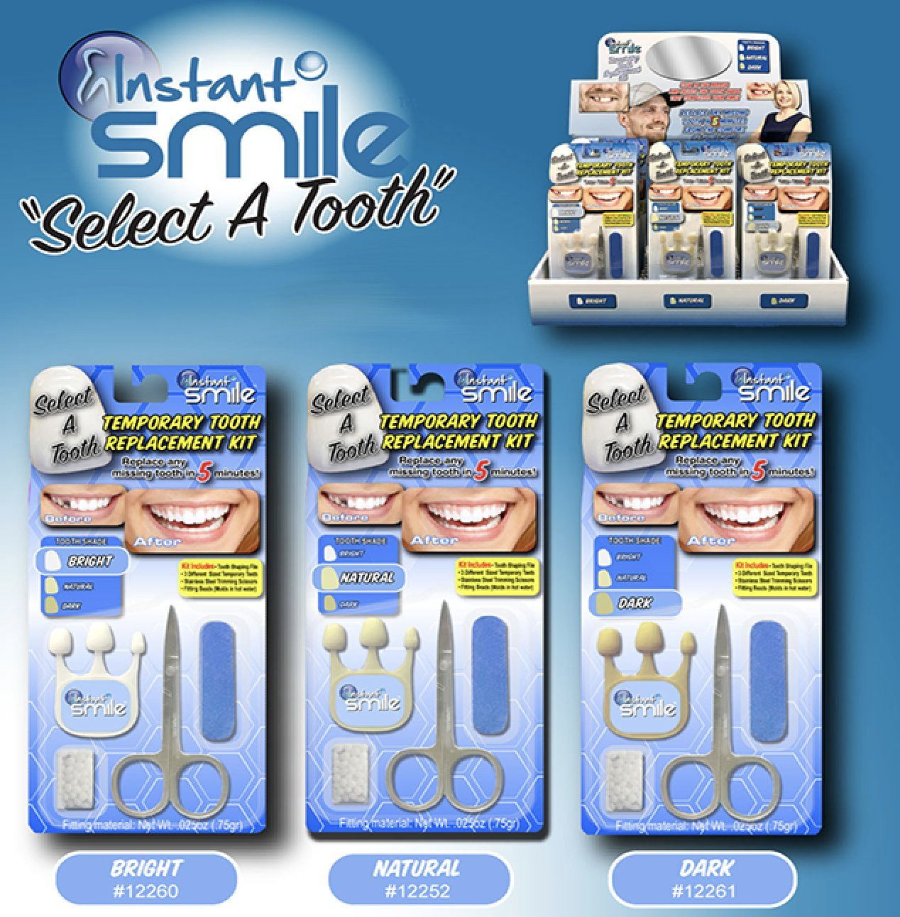 Instant Smile Select A Tooth Temporary Tooth Replacement Kit- Dark by Instant Smile