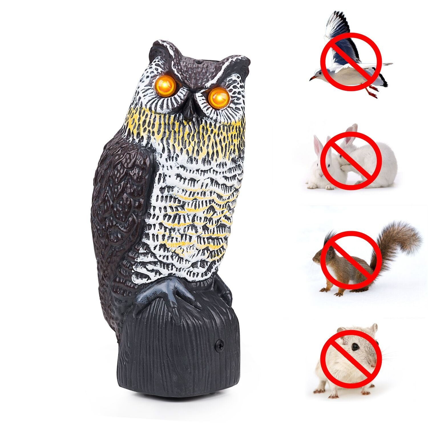 TBNEVG Garden Scarecrow Owl Decoy with Flashing Eyes and Scary Sound Pest Repellent – Motion Activated and Solar Powers Realistic Predator Scares Away and Repels All Pests; Birds, Squirrels, Rabbits