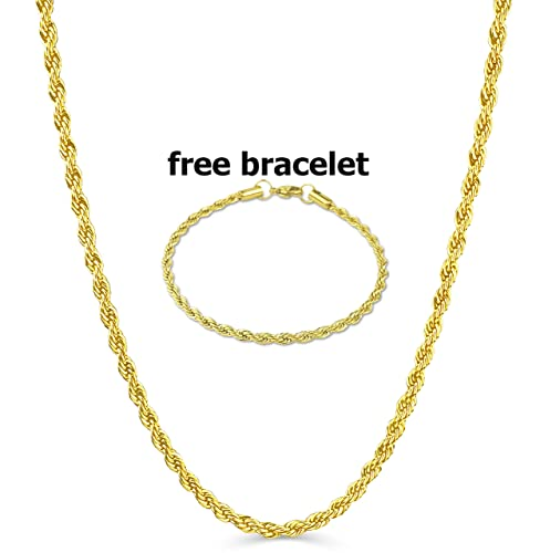 971d2a0031021 BLING CULTURE Free Bracelet Life Time Warranty 4mm Gold Rope Chain Necklace  for Men Women Life TIME Replacement