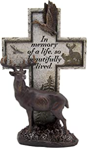 Nature Themed Memorial Cross Featuring a Bronze Toned Deer, 12.5 Inches