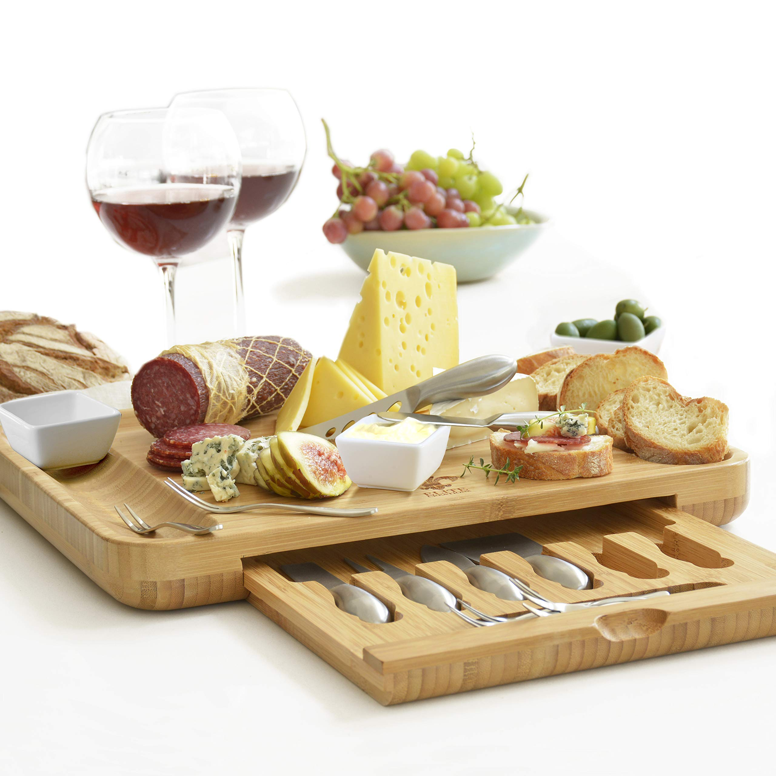 Premium Cheese Board & Utensils Gift Set - Extensive Serving Set -X- Large Bamboo Board & 6 Stainless Steel Cheese Knives & 6 Appetizer Forks & 3 Ceramic (silver, with cermic dishes)