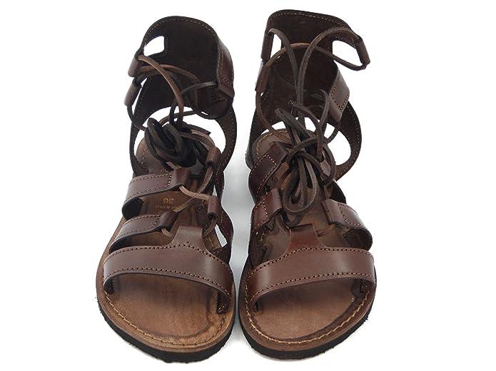 Sandalo alla schiava flat, in pelle marrone, sottopiede in cuoio, 1353