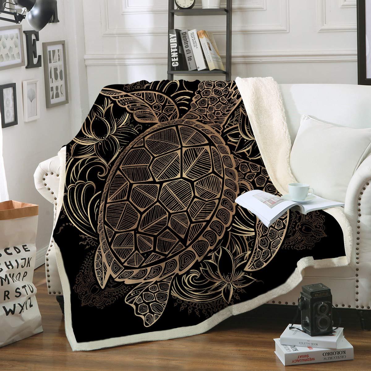 Sleepwish Gold Sea Turtle Blanket Kids Boys Boho Tortoise Floral Blanket Black and Golden Reversible Sherpa Fleece Blanket Queen 90'' X 90'' by Sleepwish