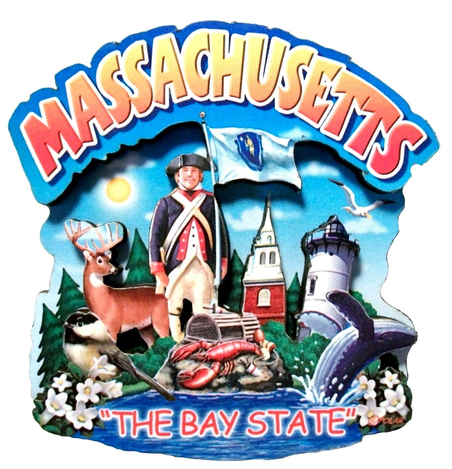Massachusetts State Montage Wood Fridge Magnet 2