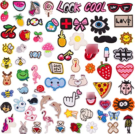ODT008 ZHDTW 42pcs Various Design Assorted Different Embroidered Iron on Patches for Clothing Backpacks Jeans