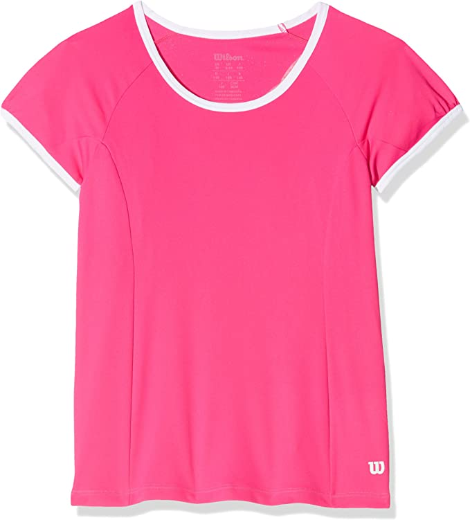 Wilson Girls` nVision Elite Cap Sleeve Tennis Top Pink Glo