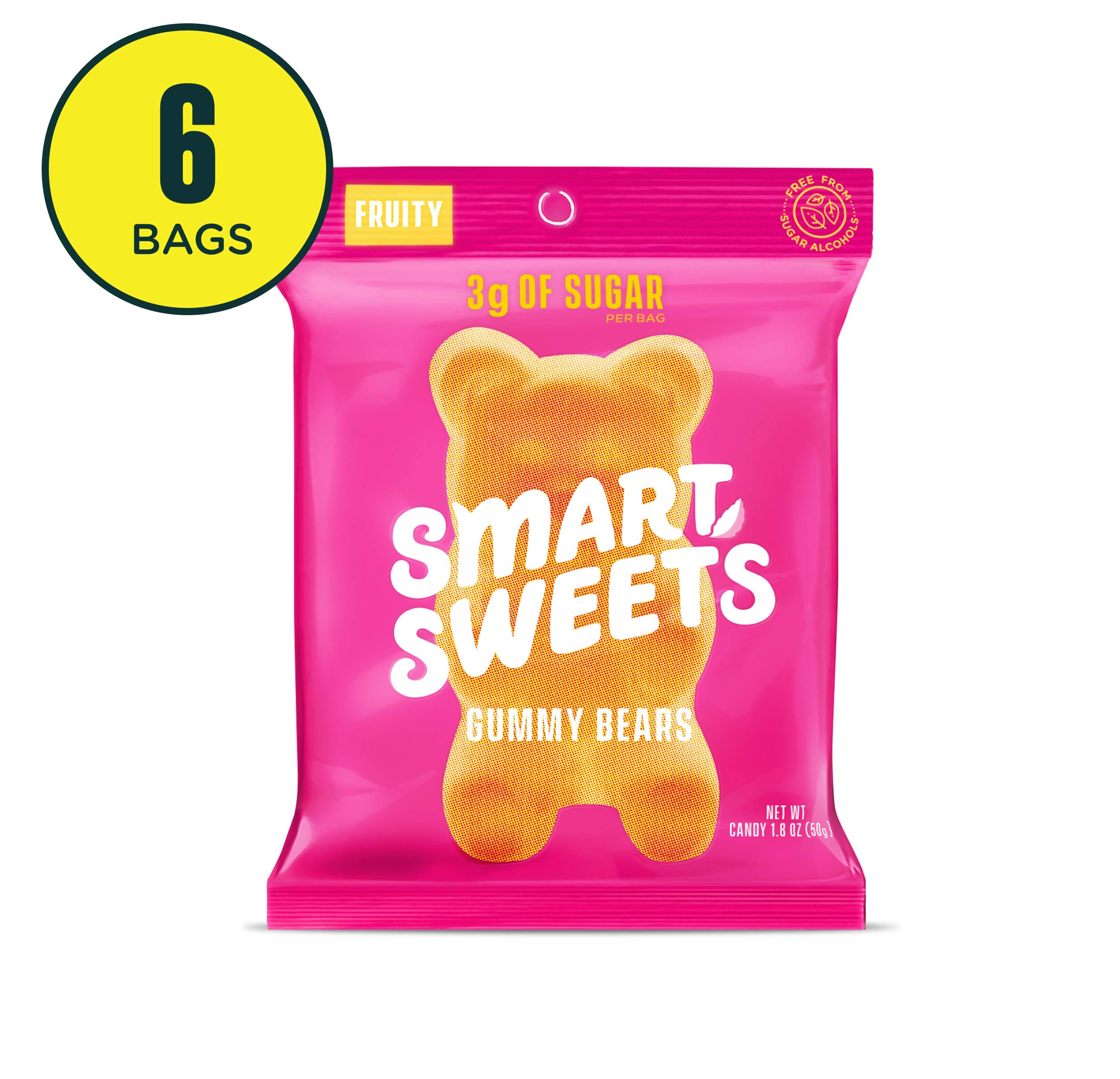 SmartSweets Low Sugar Gummy Bears Candy Fruity 1.8 Oz Bags (Box Of 6), Free of Sugar Alcohols & No Artificial Sweeteners Sweetened With Stevia, Natural Fruit Flavors by SmartSweets