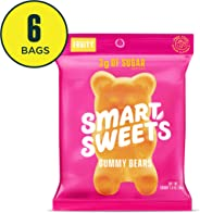 SmartSweets Low Sugar Gummy Bears Candy Fruity 1.8 Oz Bags (Box Of 6), Free of Sugar Alcohols & No Artificial Sweeteners Swee