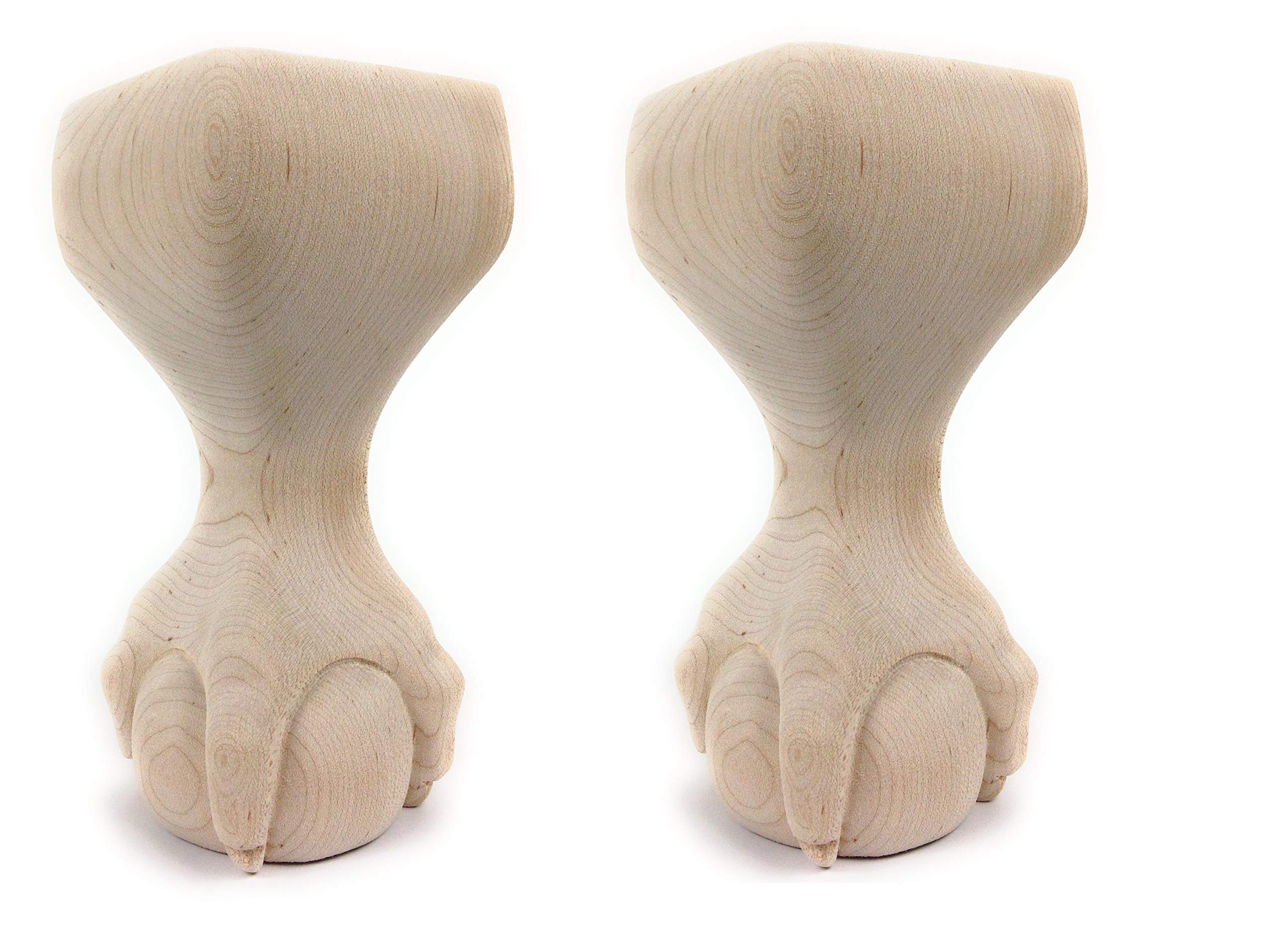 Highland Manor Wood Products Set of 2 Ball and Claw Foot - 6'' Tall x 2 3/4'' Wide (Maple)