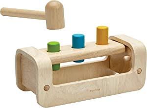 PlanToys Wooden Pounding Bench with Hammer Toy (5397) | Sustainably Made from Rubberwood and Non-Toxic Paints and Dyes