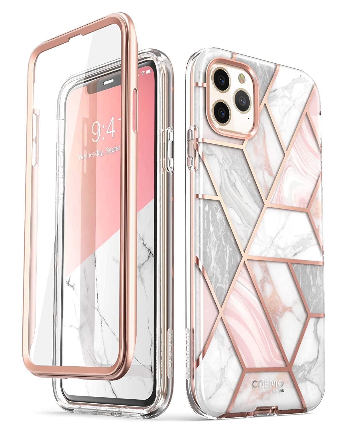 i-Blason Cosmo Series Case for iPhone 11 Pro 5.8 inch, Slim Full-Body Stylish Protective Case with Built-in Screen Protector (Marble)