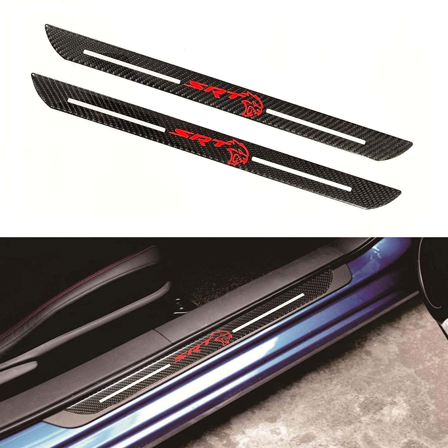 SRT Car Scuff Plate Door Sill Cover Panel Step Protector Guard 48.5CM Carbon Fiber 2pc