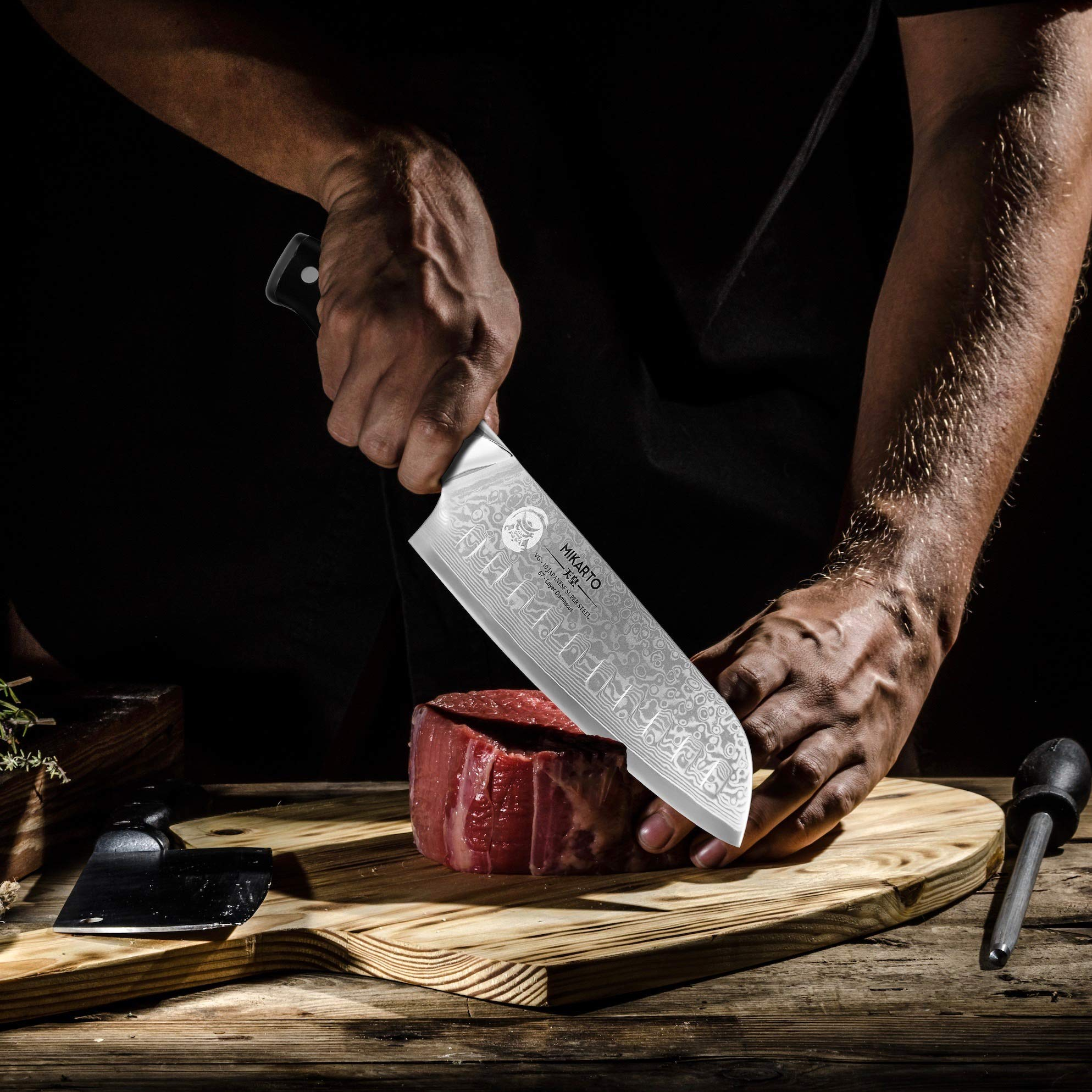 Santoku Japanese Chef Knife, 7 inch, Professional Grade - Damascus Stainless Steel Knife with Tsunami Rose Finish - Ultra Sharp, High Carbon Kitchen Knives - Quality, All Purpose, Precision Cutting by MIKARTO Knife Ware (Image #10)