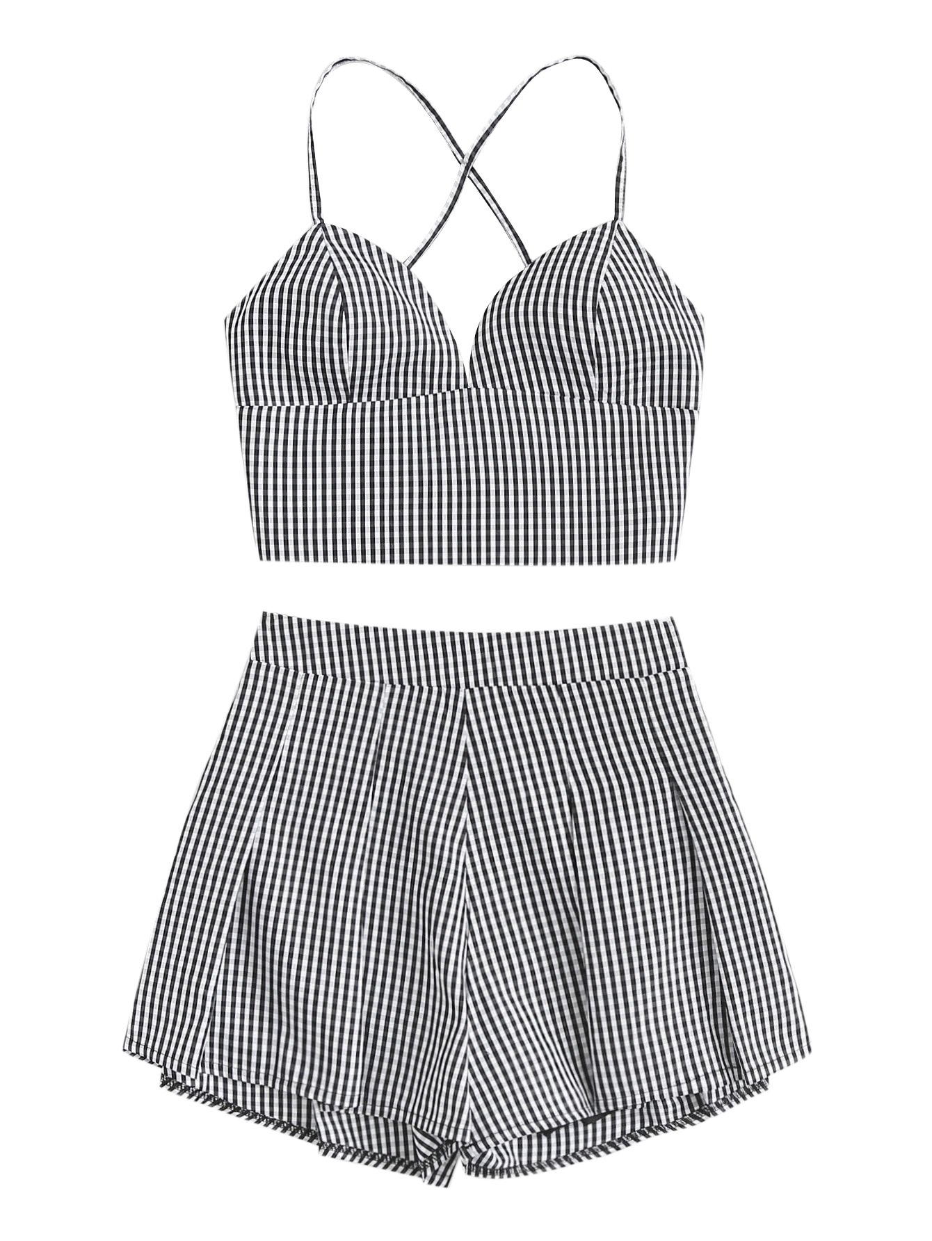 MakeMeChic Women's 2 Piece Outfit Summer Striped V Neck Crop Cami Top with Shorts Black-1 S