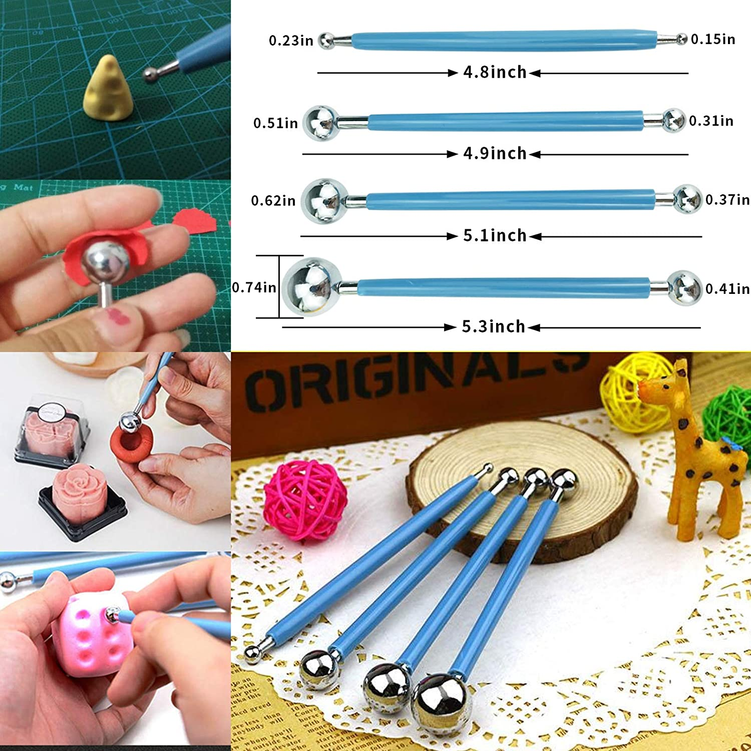 Clay Tools Set 13 Pieces Plastic Clay Tools and 4 Pieces Ball Stylus Dotting Tools Sculpting Tools Suitable for Clay Ceramic Crafts DIY Cake Fondant Decoration