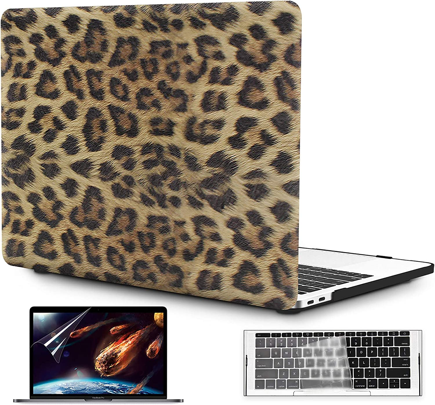 OneGet MacBook Pro 13 inch Case 2016 2017 2018 2019 Release A2159 A1989 A1706 A1708 PU Leopard Print PU Leather Hard Shell Case&Keyboard Cover&Screen Protector Compatible with MacBook Pro 13 (8151)