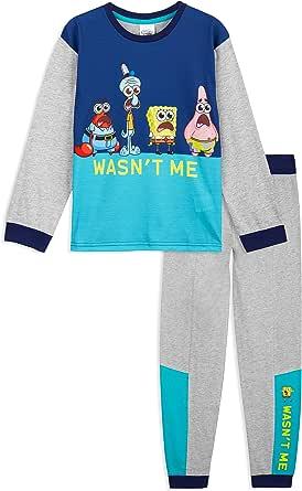 SpongeBob Squarepants Pijama Niño, Bob Esponja Pijamas Niños, Conjunto 2 Piezas Camiseta Manga Larga y Pantalones, Regalos para Niños y Adolescentes