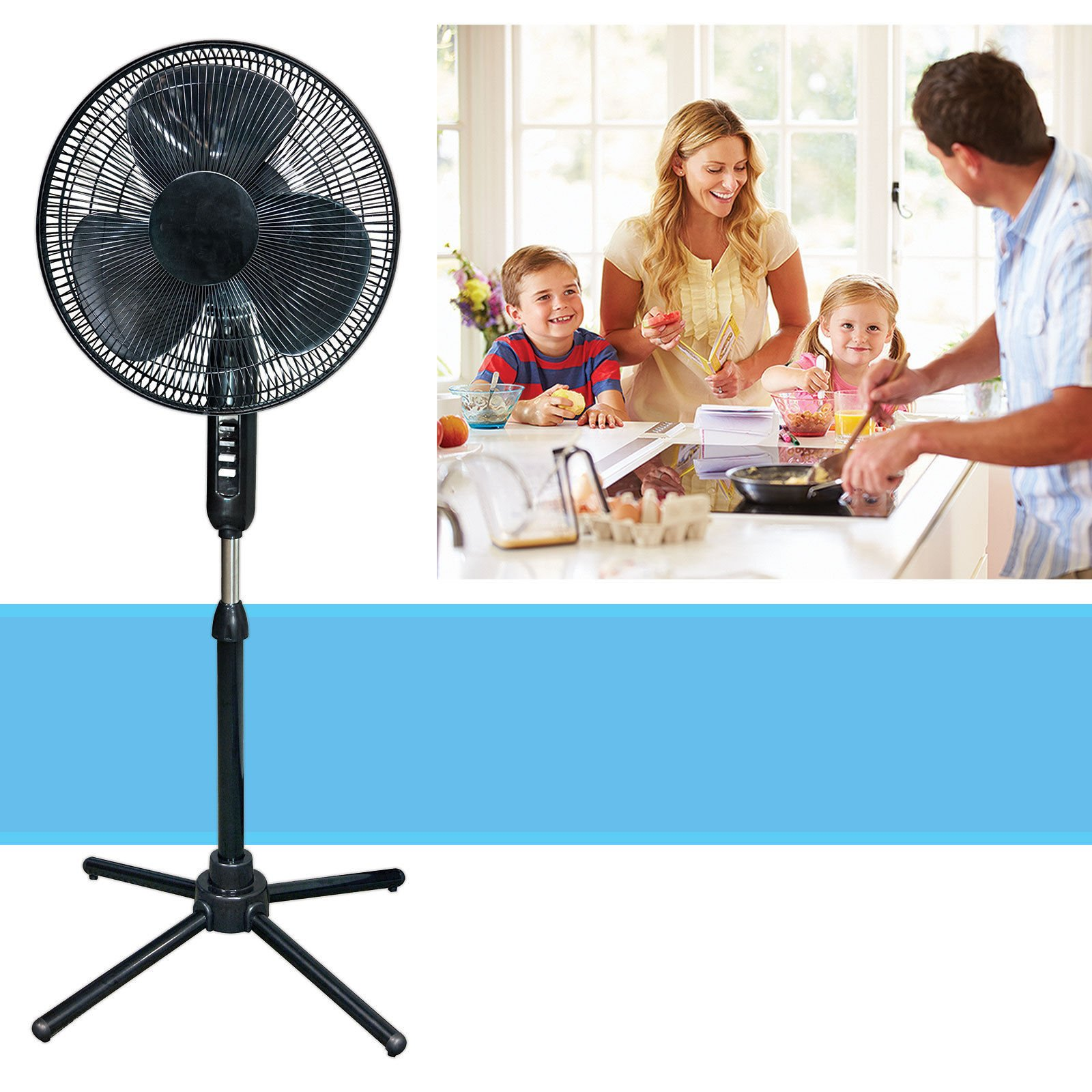 SD Oscillating Pedestal 16-Inch Stand Fan Quiet Adjustable 3 Speed, Black