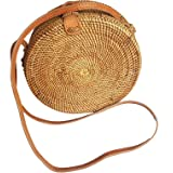 Rattan Nation - Handwoven Round Rattan Bag (Plain Weave Leather Closure), Straw Bag