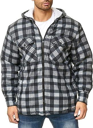 EGOMAXX Camisa térmica para Hombres Transición Chaqueta Leñador A Cuadros Fleece Franela, Color:Gris, Talla de Chaqueta:XXXL: Amazon.es: Ropa y accesorios