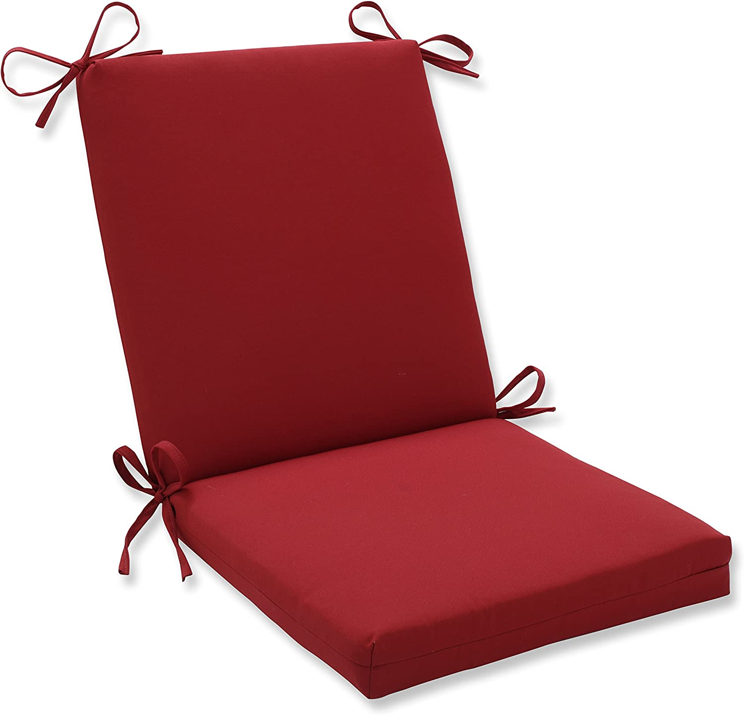 """Pillow Perfect Outdoor/Indoor Pompeii Square Corner Chair Cushion, 36.5"""" x 18"""", Red: Home & Kitchen"""