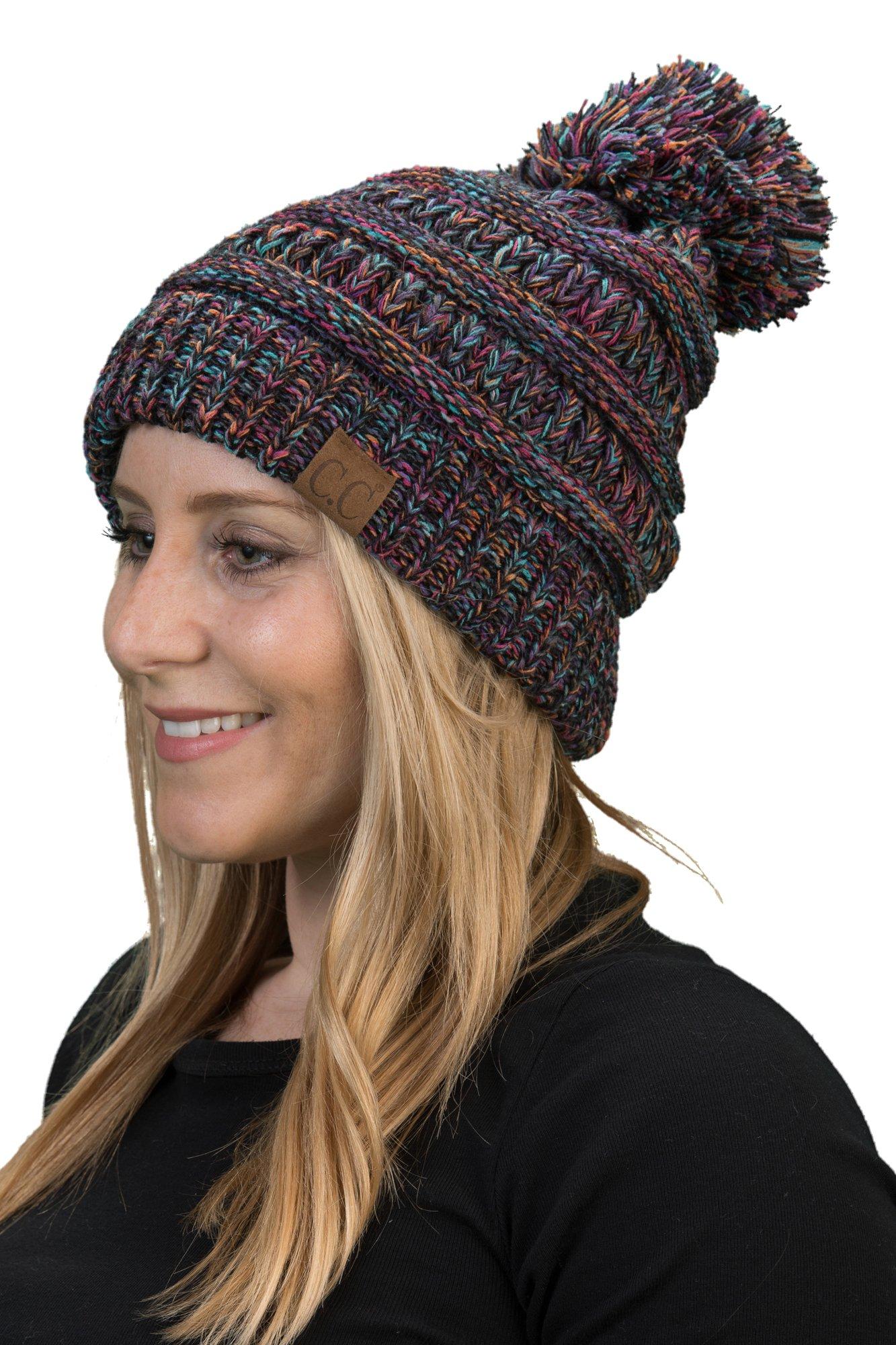 H-6800POM-816.0641 Womens Winter Hat Knit Beanie Pom - Kaleidoscope 4#32