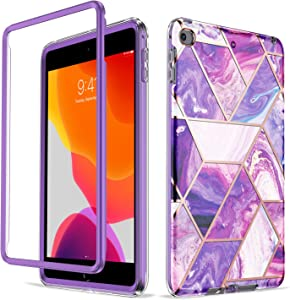 Troniker Stylish Bumper Case Designed for iPad Mini 5 Case/iPad Mini 4 Case Without Built-in Screen Protector Full-Body Protective Case Cover for Cute Girls Women Boys (Purple Marble)