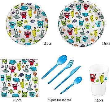 Pack para Fiesta Infantil o cumpleaños con diseño de Monstruos - Set de vajilla de plástico para 12 Personas - 120 Piezas: Amazon.es: Juguetes y juegos