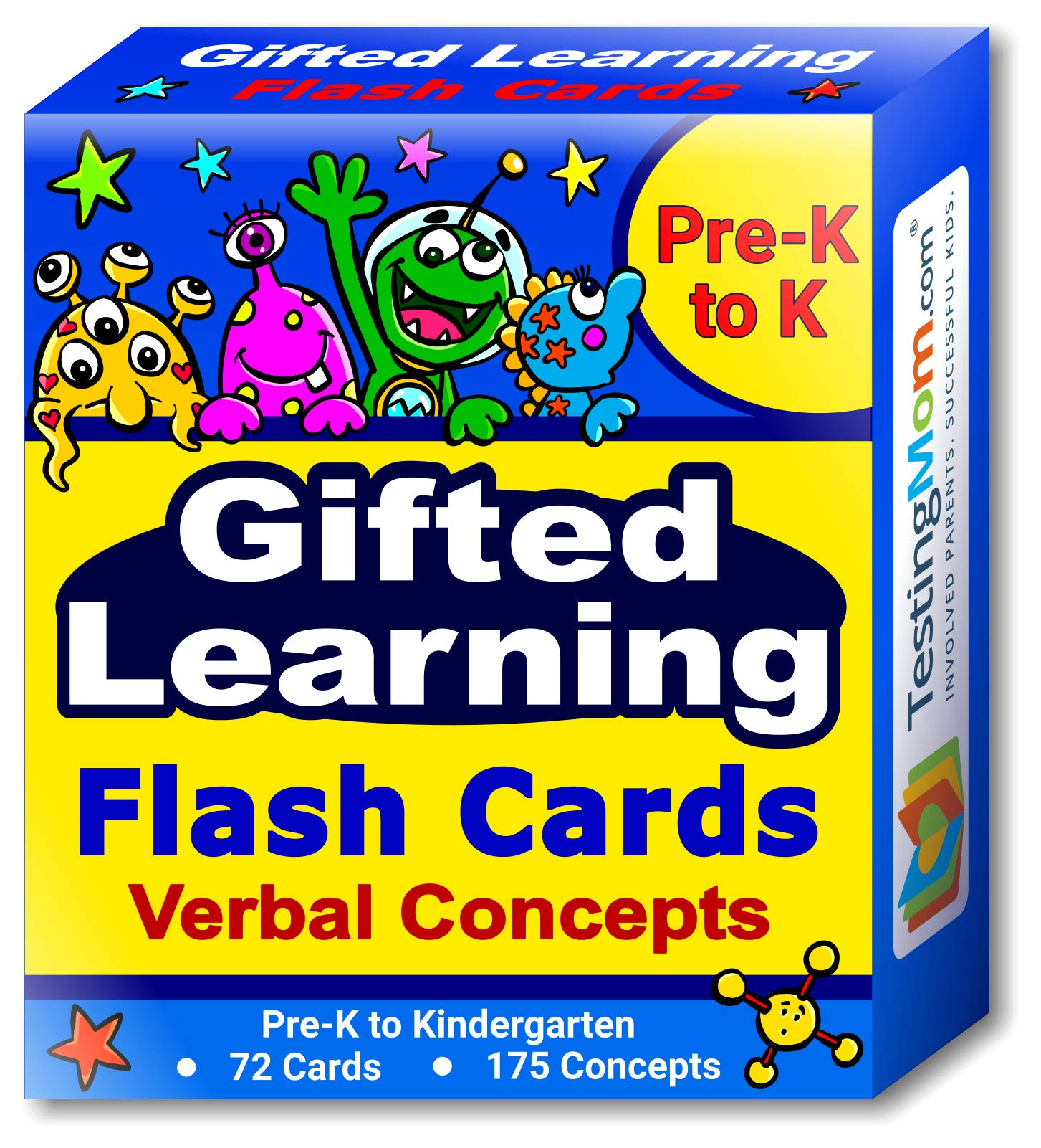 Gifted Learning Flash Cards - Verbal Concepts and Vocabulary for Pre-K - Kindergarten - Learning Toys for CogAT Test, OLSAT, Iowa Test, NYC Gifted and Talented, ERB, WISC, WPPSI by TestingMom.com