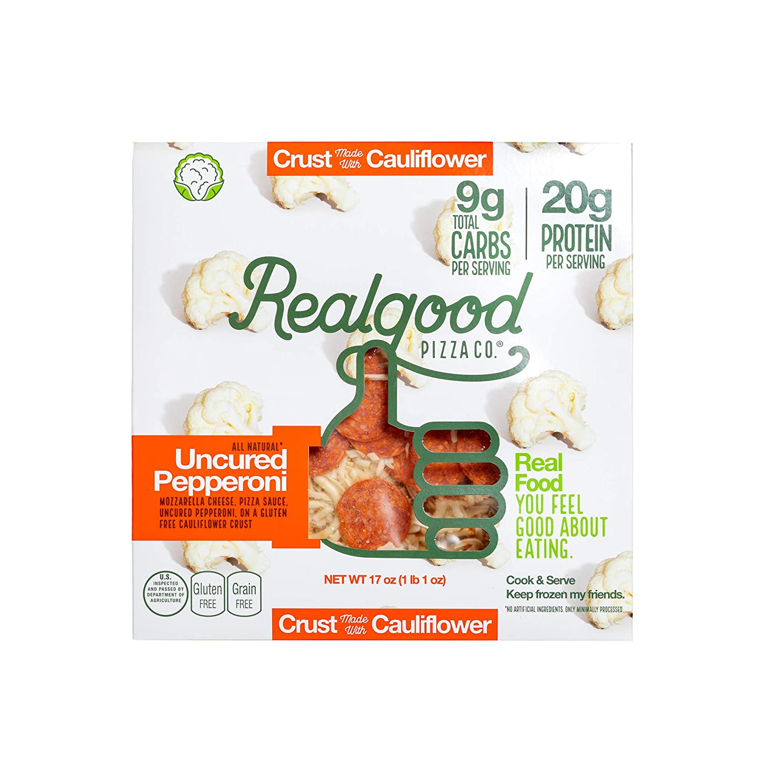 Real Good Foods Cauliflower Pepperoni Pizza, 17 Ounce -- 8 per case.