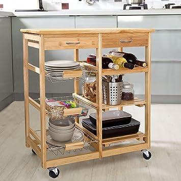 clevr rolling bamboo kitchen cart island on wheels trolley cabinet w  wine rack drawer amazon com   clevr rolling bamboo kitchen cart island on wheels      rh   amazon com