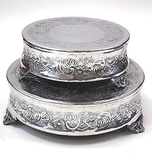 Aluminum Cake Stand For Stylist Host Set Of 2  sc 1 st  Amazon.com & Amazon.com   Opulent Treasures Antique Silver Cake Stands Round ...