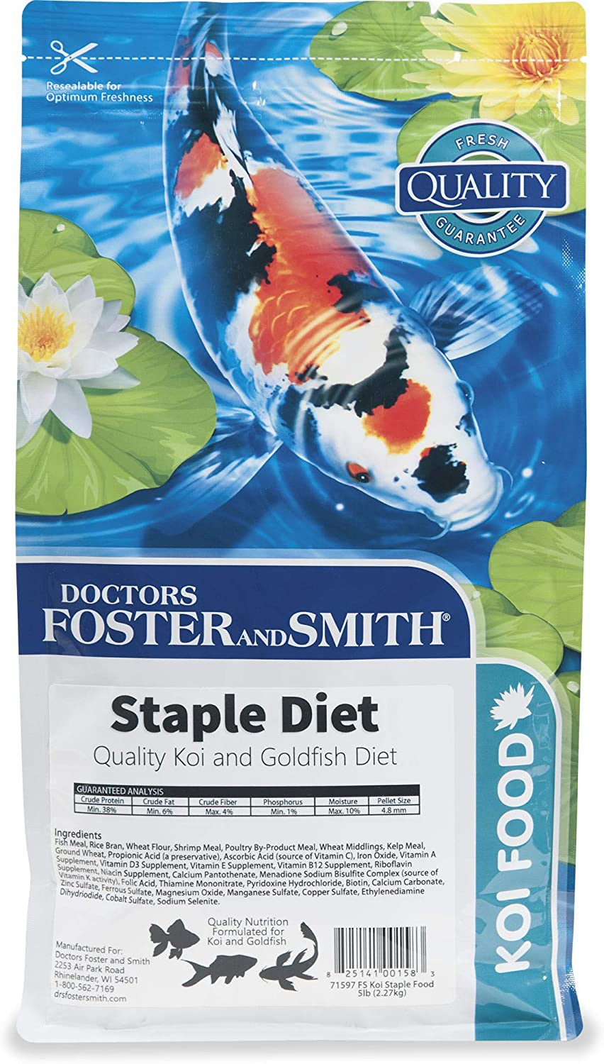 DRS. Foster and Smith Staple Diet Quality Koi and Goldfish Food, 5 lbs.