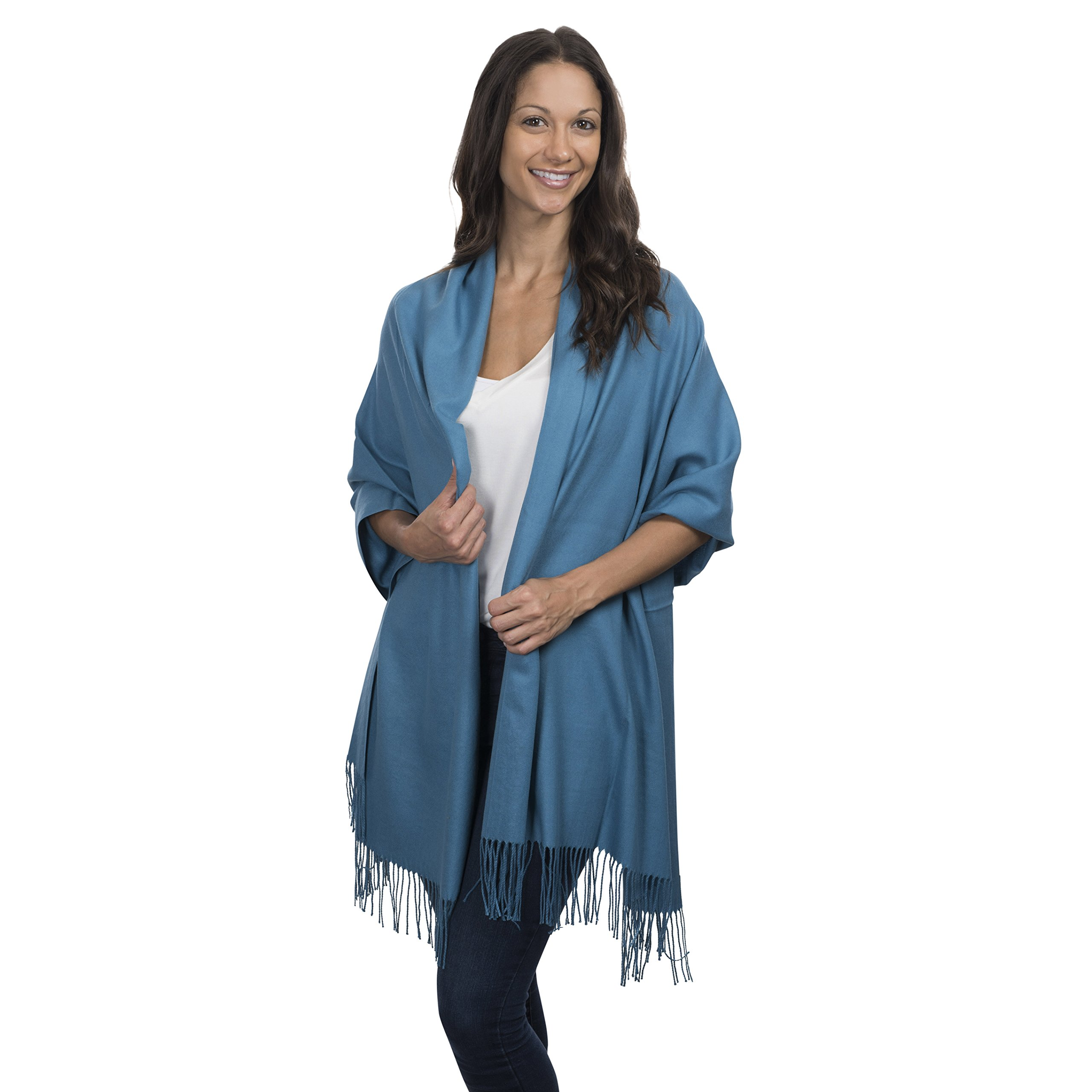 Cashmere & Class Large Soft Cashmere Scarf Wrap - Womens Winter Shawl + Gift Box (blue)