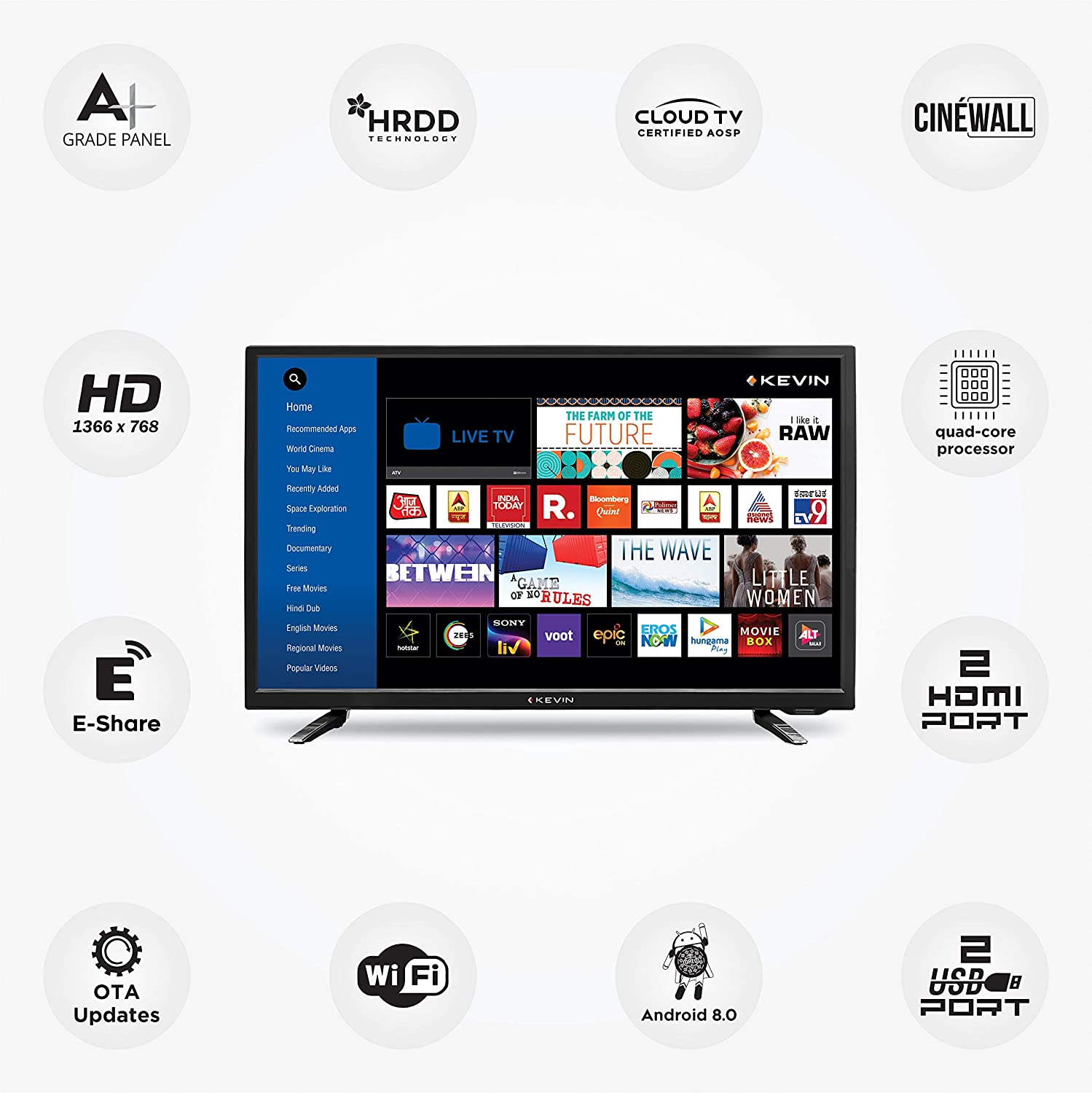 Kevin 80 cm (32 Inches) HD Ready LED Smart TV