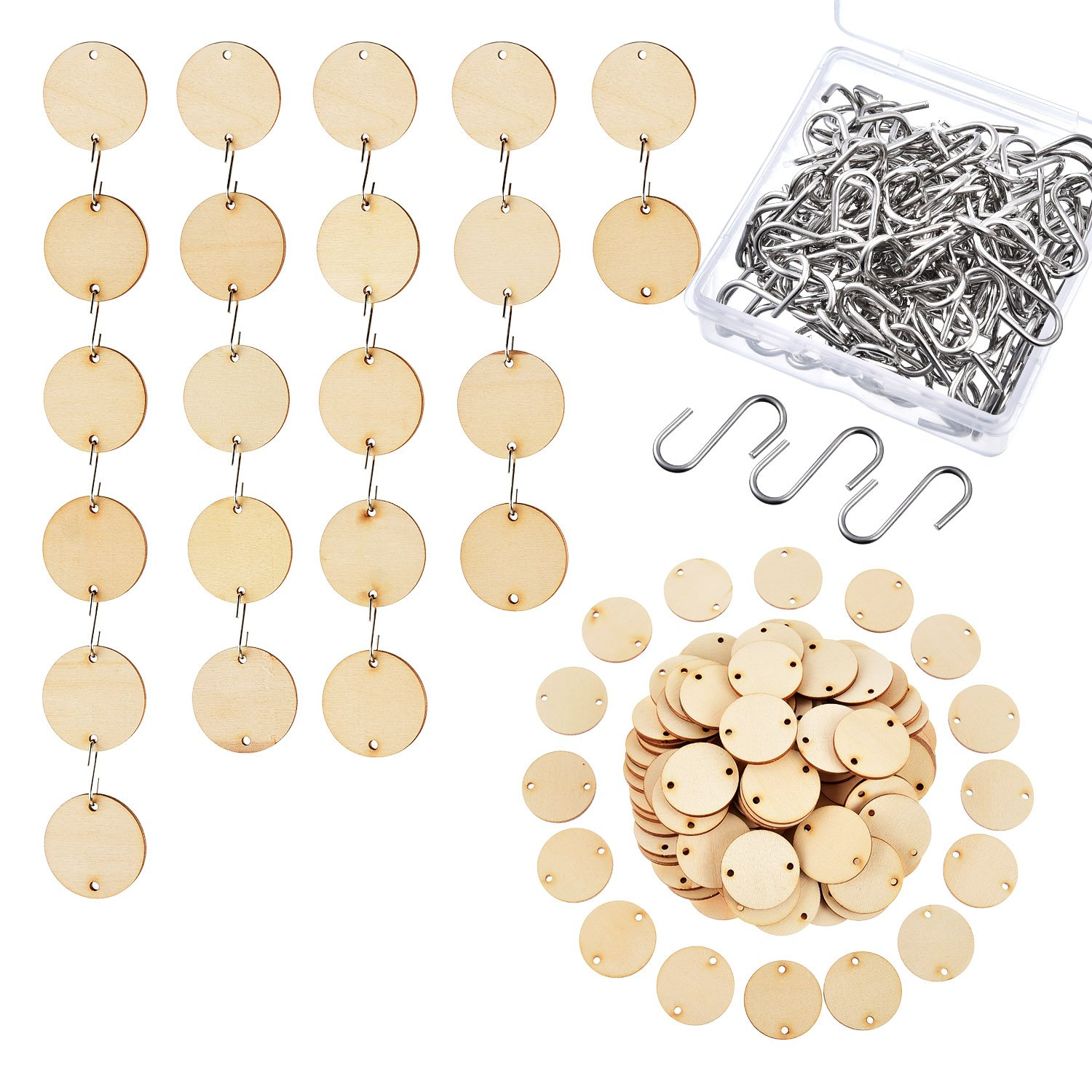 Hicarer 100 Pieces Wooden Tags with 2 Holes Round Wood Discs and 100 Pieces S Hooks Connectors for Birthday Boards, Chore Boards and Crafts