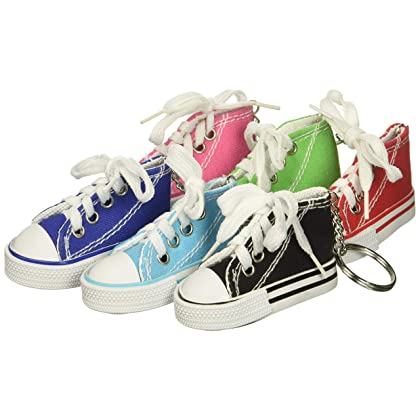 41bf587b98c6 Rhode Island Novelty 723905913137 Lot of 12 Canvas Sneaker Tennis Shoe  Chucks Keychain Party Favors Pack