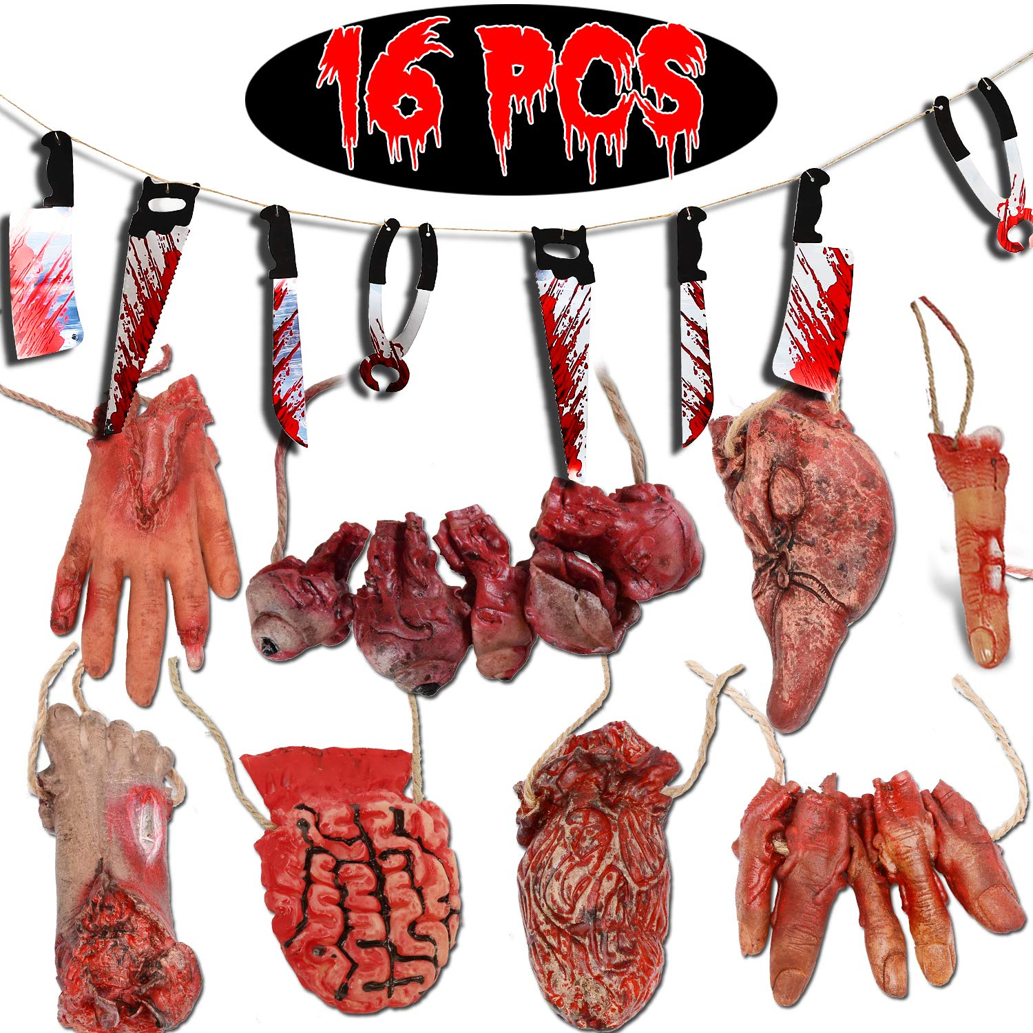 16Pcs Halloween Decorations Broken Body Parts Bloody Weapon Banner Realistic Severed Horror Hand Foot Fingers Scary Bloody Props Party Supplies for Home Indoor Outdoor Yard Haunted House Decorations by TURNMEON