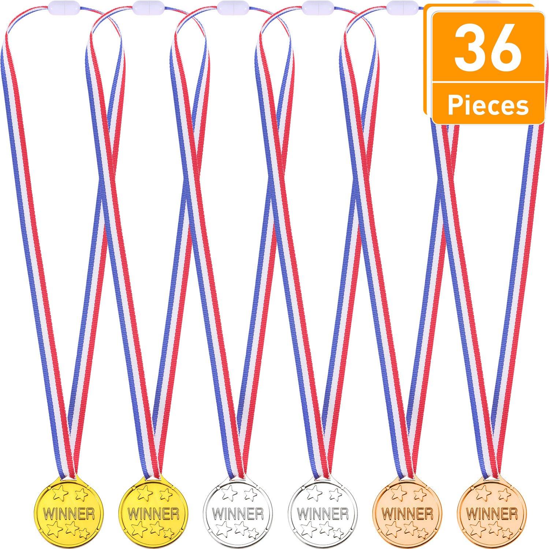 36 Piezas de Medallas de Ganador Premio de Plático Dorado Plateado Bronce, Cada Color 12 Piezas Blulu