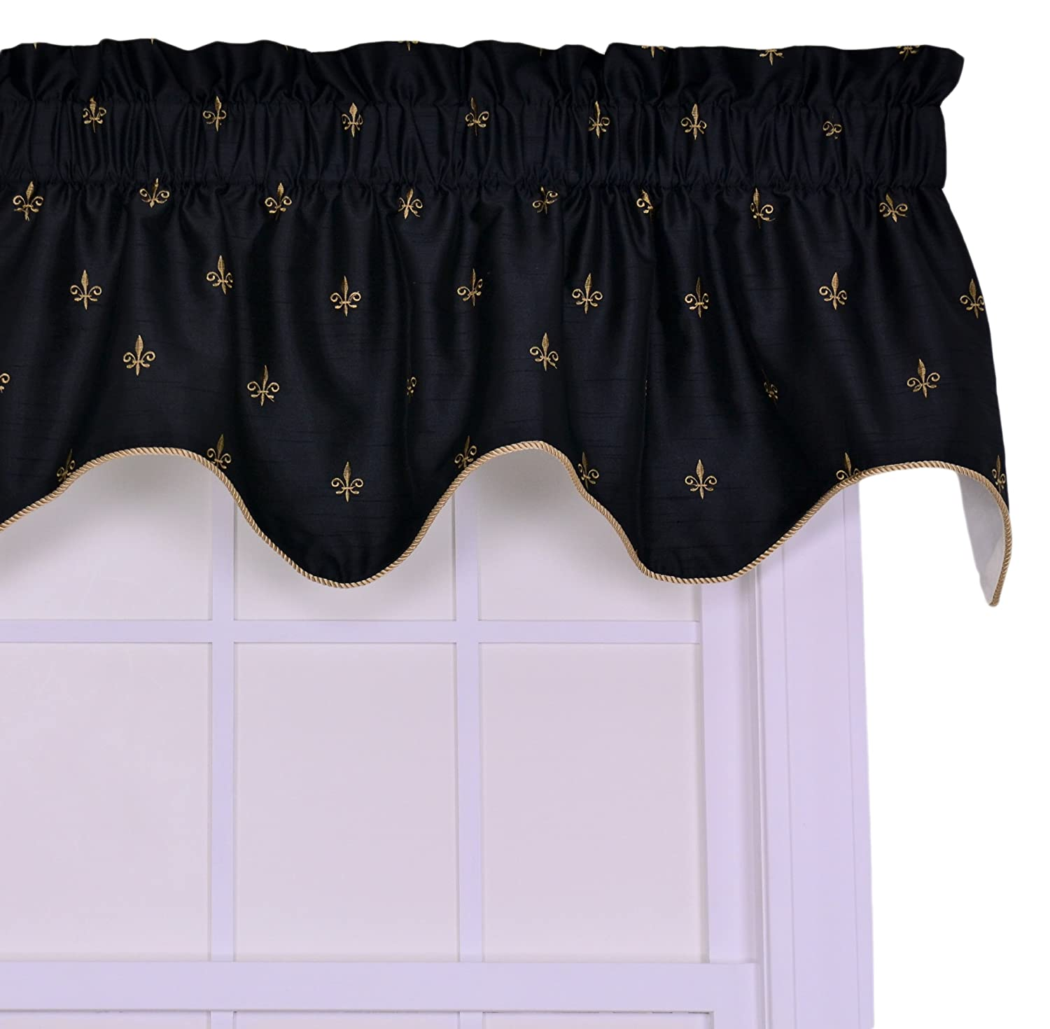 Ellis Curtain Fleur Di Lis Faux Silk Lined Duchess Filler Valance Window Curtain, Black