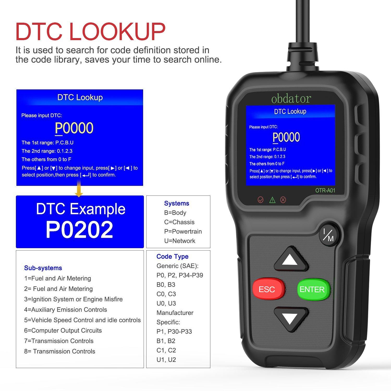 obdator OBD2 OBD Scanner Code Reader Auto Code Reader Professional Enhanced  OBDII Check Engine Light Diagnostic Scan Tool