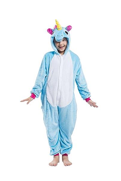 CuteOn Unisexo Para niños Unicornio Pijama Animal Onesie Traje de dormir Cosplay Disfraz Bleu 85(