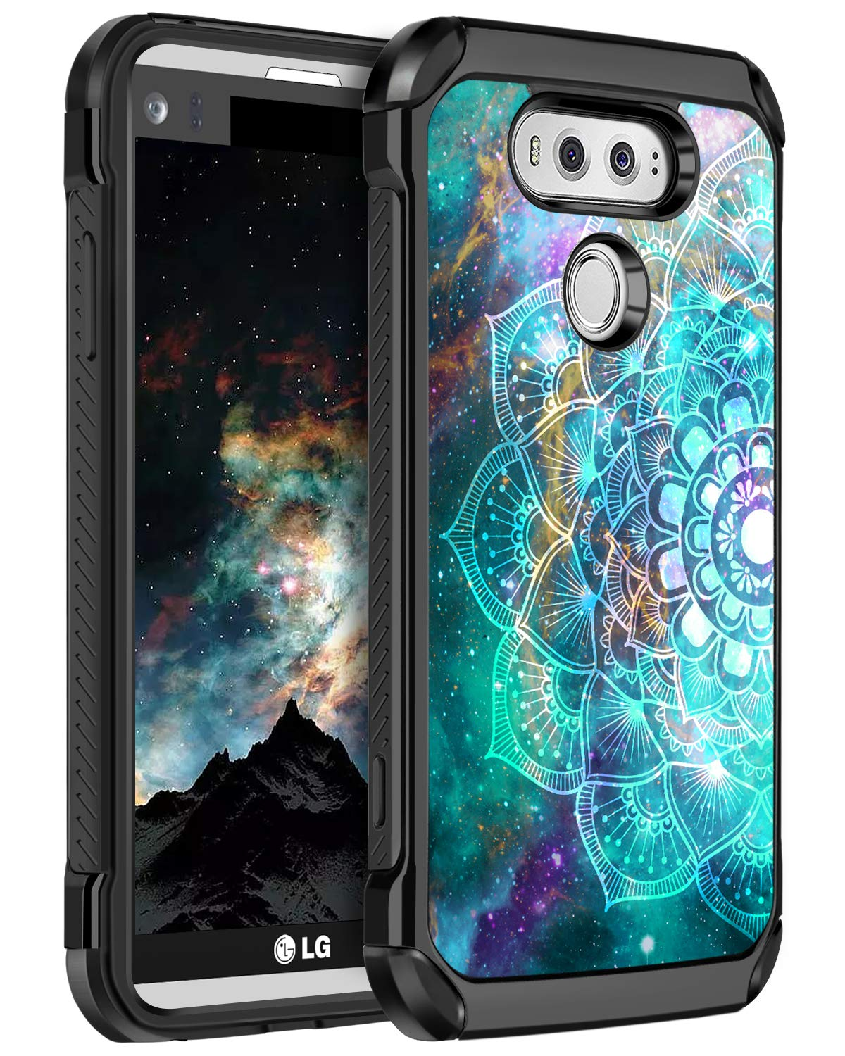 BENTOBEN LG V20 Case, Shockproof 2 in 1 Hybrid Hard PC Soft TPU Bumper Glow in The Dark Noctilucent Slim Dual Layer Anti-Slip Scratches Resistant Protective Phone Cover for LG V20, Mandala in Galaxy