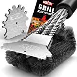 GRILLART Grill Brush and Scraper 18 Inch - Wire Bristle Brush Double Scrapers - Barbecue Cleaning Brush for Gas/Charcoal Gril