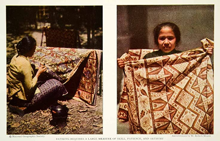 1929 Color Print Batik Java Art Textiles Fabric Wax Dye Historical Image NGM9