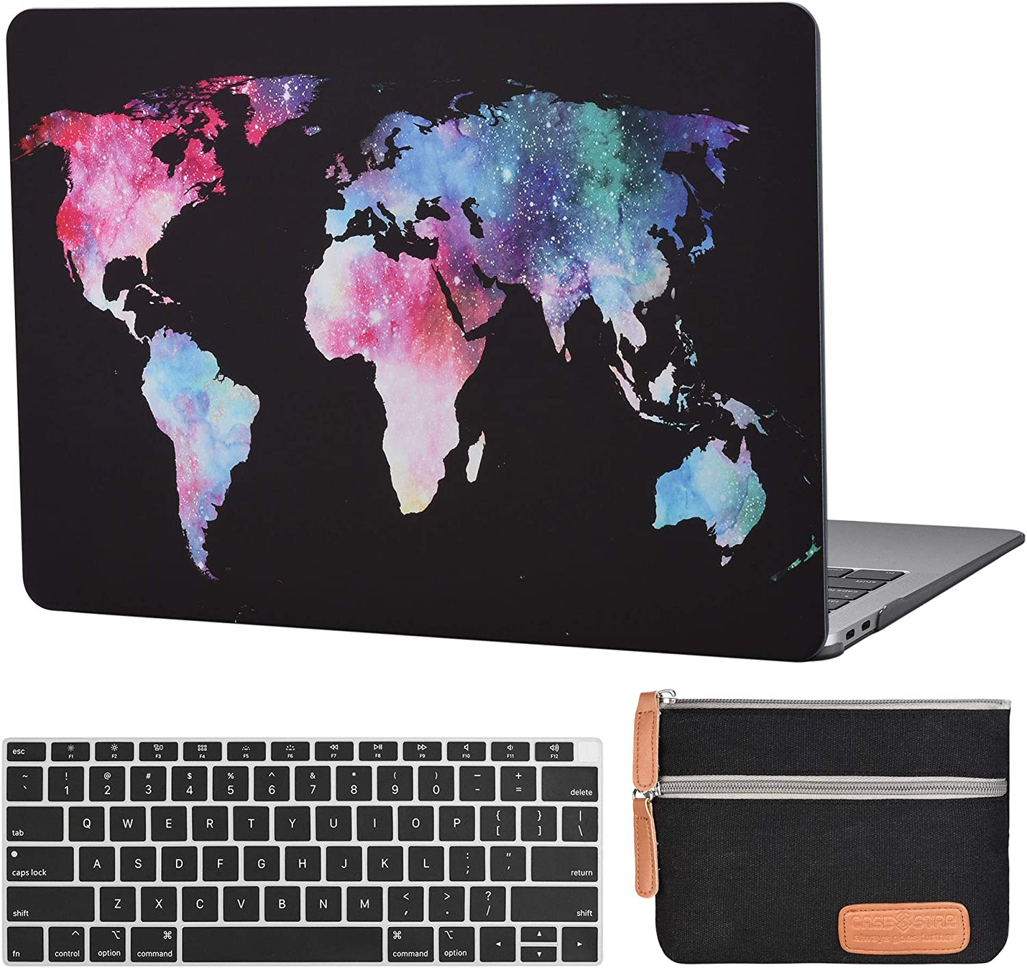 MacBook air 13 Inch Laptop Case A1932 A2179 Plastic Laptop Hard Shell Cover Sleeve Matte Rubberized (2020 2019 2018 Release, Touch ID) with Silicon Keyboard Cover and Small Pouch (Map Black)