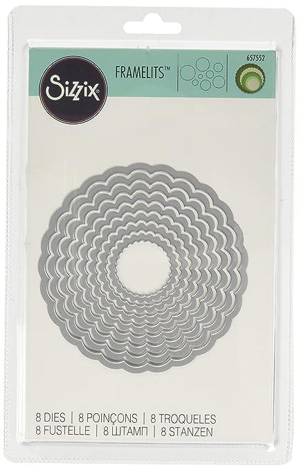 84 opinioni per Sizzix Framelits Fustelle, Set di 8 Pz, Cerchi, Scallop, Bianco, Acciaio