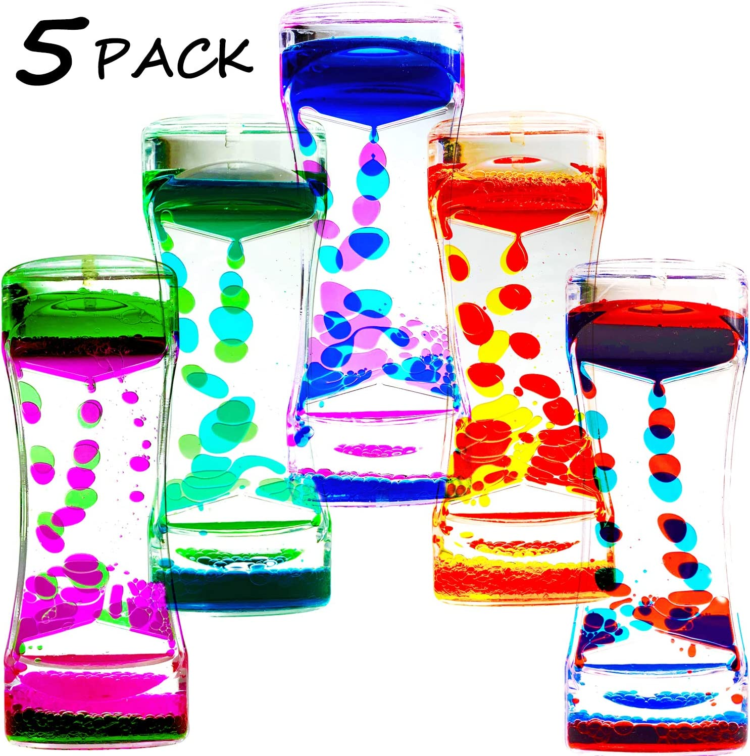 OCTTN Liquid Motion Timer Bubbler for Kids and Adults, 5 Pack Desktop Sensory Toy for Relaxation, Fidget Toy , Stress Relief and Anxiety Relief, Relaxing, Autism, ADHD Toys