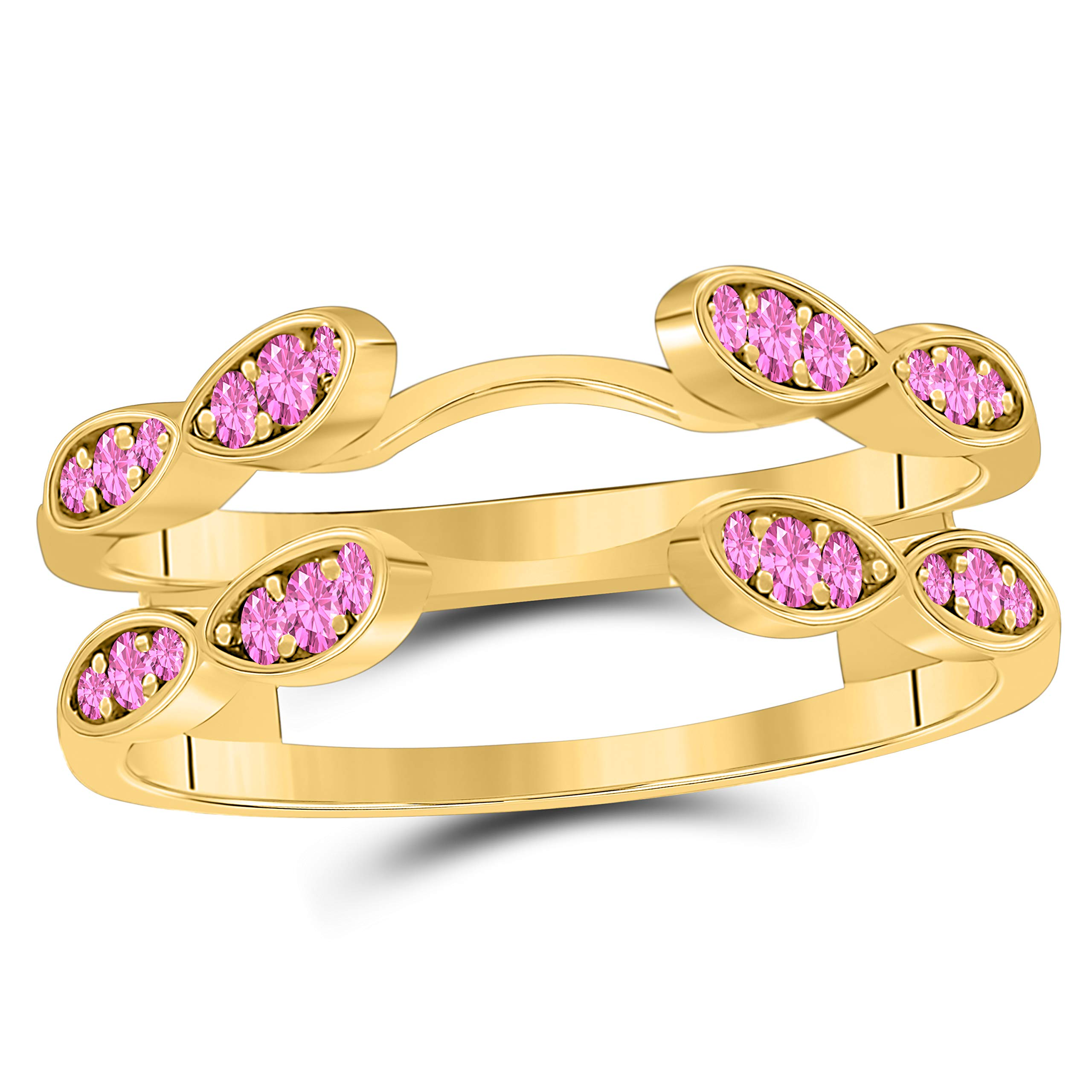 Silver Gems Factory 14k Gold Plated 0.50 Ct Created Pink Sapphire Round Solitaire Infinity Ring Enhancer Guard Wrap Wedding Band