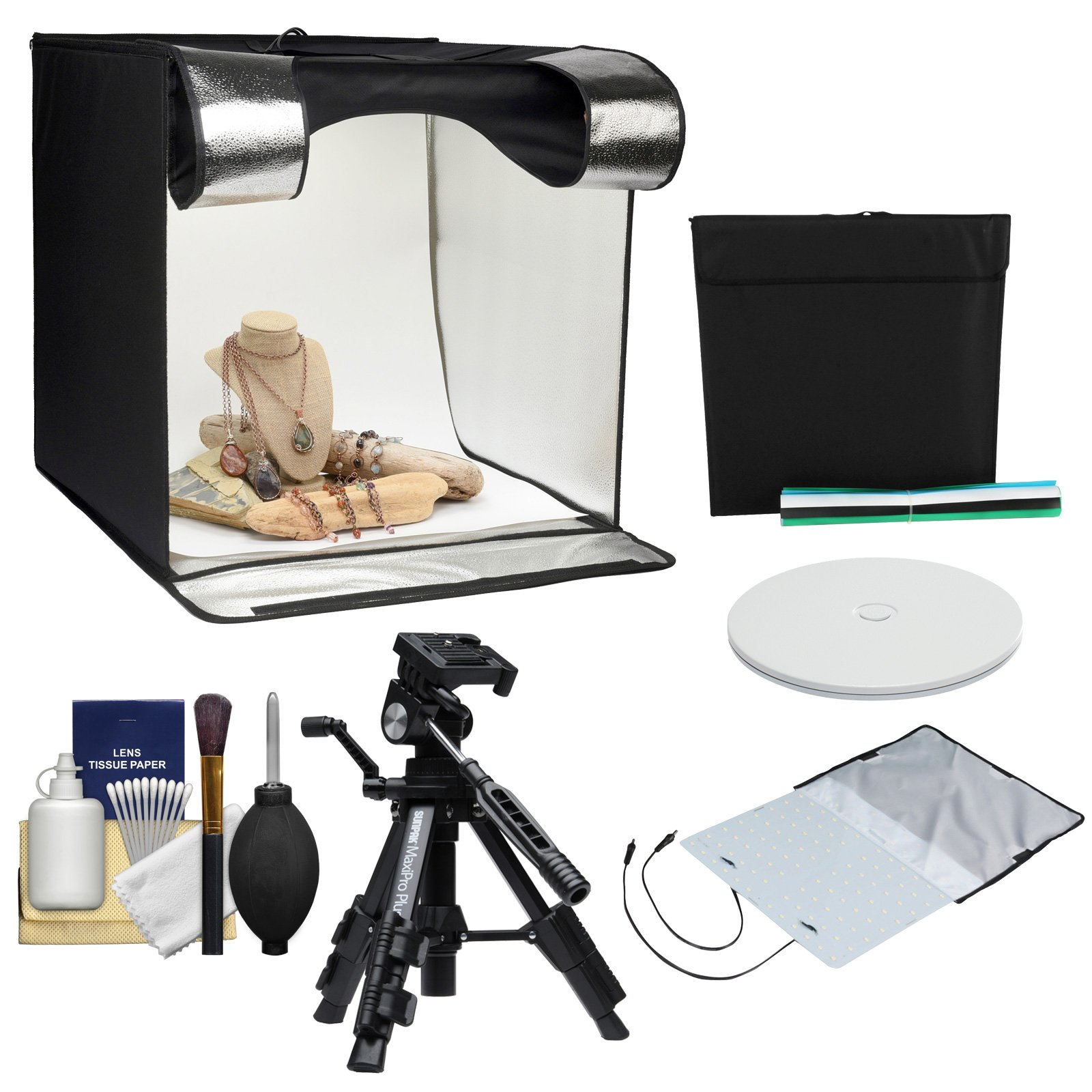 Smith-Victor 24'' Desktop LED Light Box Studio Tent with Turntable, 4 Backgrounds & Case with Macro Tripod + Cleaning Kit by Smith-Victor (Image #1)